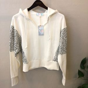 HIPPIE ROSE Ivory Leopard cropped hoodie NWT